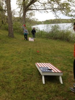 cornhole game setup outside