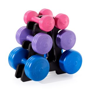 York-Vinyl-Dumbbell-19kg-set-1261-On-Stand